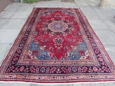 Shabby Chic Worn Vintage Hand Made Traditional Red Wool Large Carpet 303x191cm