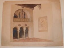 Santa Crocie Interior of a Church W/C Painting-1920s-Otto Rothenburg