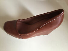 NEXT TAN Leather Wedge Shoes With Contrast Stitching UK  5