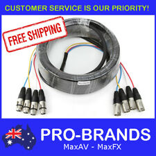 15m 4-Way XLR M-F Male to Female Balanced Cable Core Lead Loom Snake Multicore