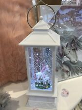 ~❤️~UNICORN mum & baby White Lantern LED Night Light Snow Globe BATTERIES Inc❤️~