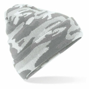 Camo Beanie Hat Turn Up Woolly Knit Tactical Ski Winter Warm Army 3 options