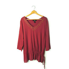 Style&co Woman 3X stretch v-neck beads embellished knit blouse top red plus