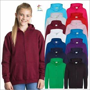 AWDis Kids Zip Up Hoodie Casual Boys Girls Plain Hooded Sweatshirt 3/4-12/13