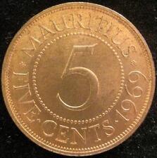 Mauritius 5 Cents 1969 red  BU l