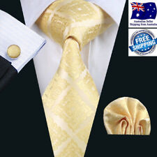 Premium Men Tie Formal Wedding Party Gold Yellow Silk Jacquard Hanky Cufflinks