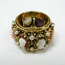 ANTIQUE 14K YELLOW GOLD CAMEO & PEARL RING SIZE 5 3/4