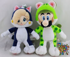 "Set of 2 Super Mario 10"" Cat Luigi 9"" Cat Mario Plush soft Toys Stuffed Animals"