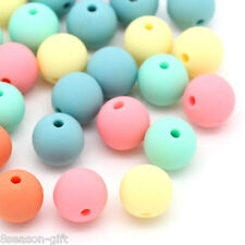 100PCs Candy Color Acrylic Spacer Beads Round Mixed 9mmx10mm