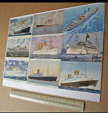 """20th Century Liners A3 Colour Postcard """"Printing Plate"""" Empress of Scotland etc"""