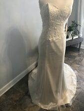 Maggie Sottero Ivory Strapless Lace Dress   Size 14