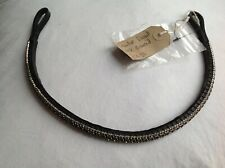 Equiture bling curved brow band - Elegante blk diamond on black leather REDUCED