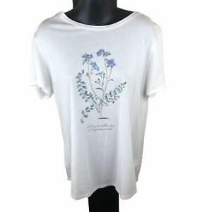 Witchery Forget Me Not Short Sleeved White Cotton T Shirt Size Medium Free Post