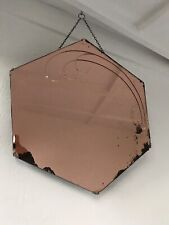 Pink Art Deco Peach Mirror Large Frameless Large Aged Mirror Etched