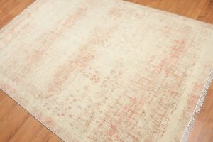 """5'6"""" x 8' Hand Knotted Industrial Distress Glam 100% Wool Area rug AOR8581 Aqua"""