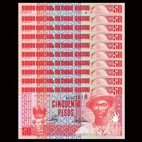 Lot 10 PCS, Guinea Bissau 50 Pesos, 1990, P -10, UNC