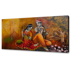 RELIGIOUS LORD RADHA KRISHNA HINDU CANVAS WALL ART PRINT PICTURE READY TO HANG