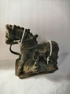 VERY OLD VINTAGE METAL HORSE FIGURE ON BASE HEAVY + Bell TOY