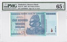 Zimbabwe 100 Trillion Dollars PMG 65 EPQ 2008 Gem Uncirculated UNC Banknote Note