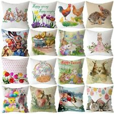 "18"" Spring Easter Bunny Egg Pillow Case Throw Cushion Cover Home Sofa Decoration"