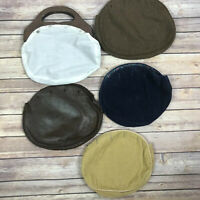 Vintage Bermuda Wood Handle Bag Purse 4 Reversible Covers 70s 80s Preppy Leather