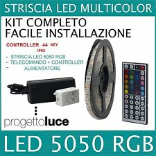 STRISCIA A LED MULTICOLORE RGB 300LED SMD5050 5MT CON ALIMENTATORE E TELECOMANDO