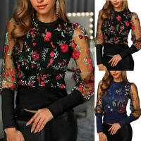 Women O-Neck Long Mesh Sleeve Tops Shirt Lady Floral Embroidery Blouse Pullover