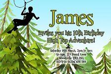 10 ALBERO PERSONALIZZATO Top Festa Di Compleanno Inviti-Foresta avventura High Wire