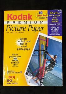 NEW KODAK Premium PPP-3-A Picture Paper 8.5 x 11 High Gloss 60 Sheets Heavy Wght