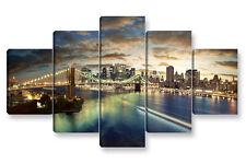 Quadro Moderno 5 pz. NEW YORK SKYLINE 6 cm 150x90 stampa su tela manhattan città