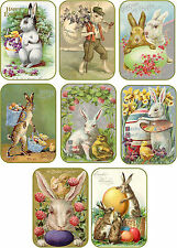 Vintage Easter 8 bunny rabbit eggs antique pictures tags with envelopes