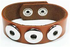 Pulsera de piel recién pulsador pulsera cuero genuino señora button pulsera marrón claro