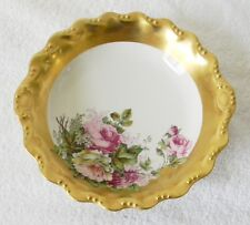 Flambeau Limoges bowl with hand painted flowers and heavy gold - circa 1900