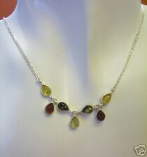 Baltic Amber necklace 17 inch -green cognac golden  High quality