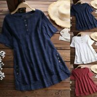 Women Summer Top Tee T Shirt Check Plaid Loose Short Sleeve Blouse Plus Size