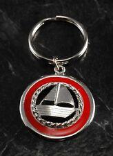Vintage Red Enamel Sail Boat Key Chain Metal Key Fob Silver Tone Metal