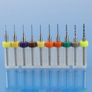 10pcs 1.1-2.0mm Tungsten Steel Carbide PCB CNC Micro Drill Bits Milling UK