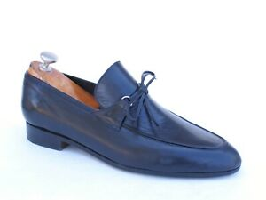 Bijan Black Leather Slip-on Tie Italian Loafers 7.5 UK / 8.5 US $1800