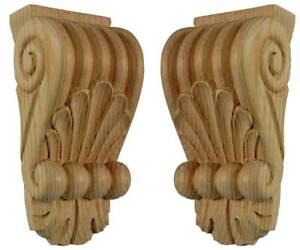Regency Wood Fireplace Mantel Shelf Corbels, Paint Grade Pair, Carved Pine PG718