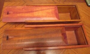 Pair of 2 Vintage Finished Wood Wine Gift Boxes - Slider Tops