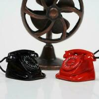 Retro Telephone Dollhouse Miniature DIY Doll House Red/Black 1:12 Scale Dec X0H5