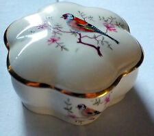 ROYAL WORCESTER Palissy bone china Trinket Box Gold finch on blossoming  branch