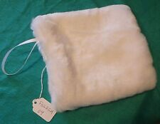 Soft Beaver White Muff w Cream Cotton Lining & Holding Loop for Child FSGHGM09