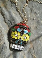 "Black Sugar Skull Pendant Colorful Gold 18"" Chain Necklace Day Dead Colorful"