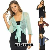 Women Summer Short Sleeve Sheer Shrug Cardigan Lightweight Knit Mini Plus Size