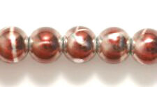 6mm Druk, Op Dk Red Metallic and Silver Drizzle, China Glass 70 beads, burgundy