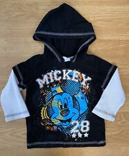 New listing Boys Size 18 Months Disney Mickey Mouse Black Long Sleeve Hooded Shirt