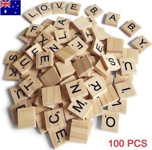 100Pcs Word Scrabble Number Alphabet Tile Wooden Letter block home DIY Letter
