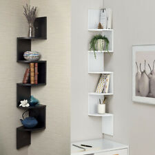 2/3/5 Tier Floating Wall Shelves Corner Shelf Storage Display Holder Bookcase UK