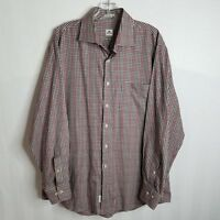 Peter Millar Mens Plaid Brown Red Button Front Long Sleeve Shirt SZ Large B411